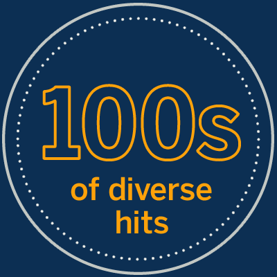 100s of diverse hits